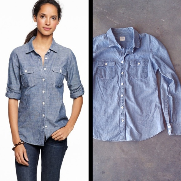 df1b2f36 J. Crew Tops | J Crew Factory Two Pocket Chambray Perfect Shirt ...